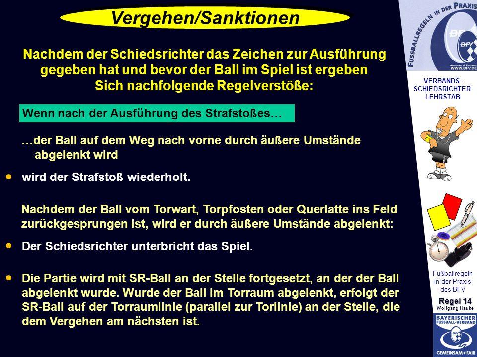VERBANDS- SCHIEDSRICHTER- LEHRSTAB Fußballregeln in der Praxis des BFV Regel 14 Wolfgang Hauke Vergehen/Sanktionen Nachdem der Schiedsrichter das Zeic