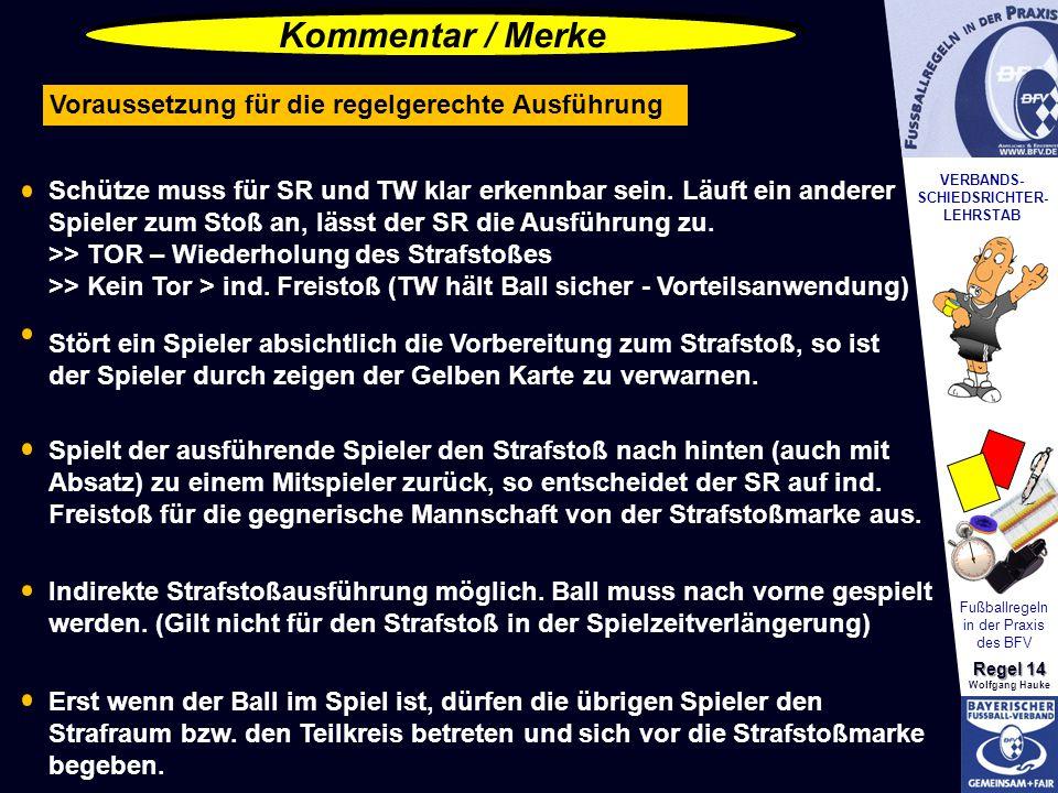 VERBANDS- SCHIEDSRICHTER- LEHRSTAB Fußballregeln in der Praxis des BFV Regel 14 Wolfgang Hauke Schütze muss für SR und TW klar erkennbar sein. Läuft e