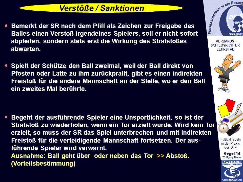 VERBANDS- SCHIEDSRICHTER- LEHRSTAB Fußballregeln in der Praxis des BFV Regel 14 Wolfgang Hauke Verstöße / Sanktionen Bemerkt der SR nach dem Pfiff als