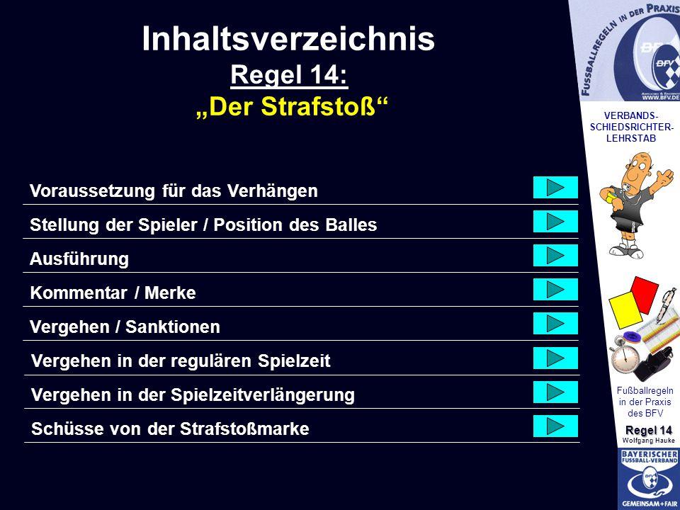 VERBANDS- SCHIEDSRICHTER- LEHRSTAB Fußballregeln in der Praxis des BFV Regel 14 Wolfgang Hauke Vergehen/Sanktionen Nachdem der Schiedsrichter das Zeichen zur Ausführung gegeben hat und bevor der Ball im Spiel ist ergeben Sich nachfolgende Regelverstöße: Wenn nach der Ausführung des Strafstoßes… wird der Strafstoß wiederholt.