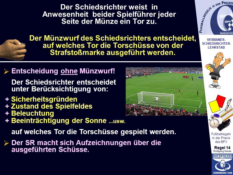 VERBANDS- SCHIEDSRICHTER- LEHRSTAB Fußballregeln in der Praxis des BFV Regel 14 Wolfgang Hauke Der Schiedsrichter weist in Anwesenheit beider Spielfüh