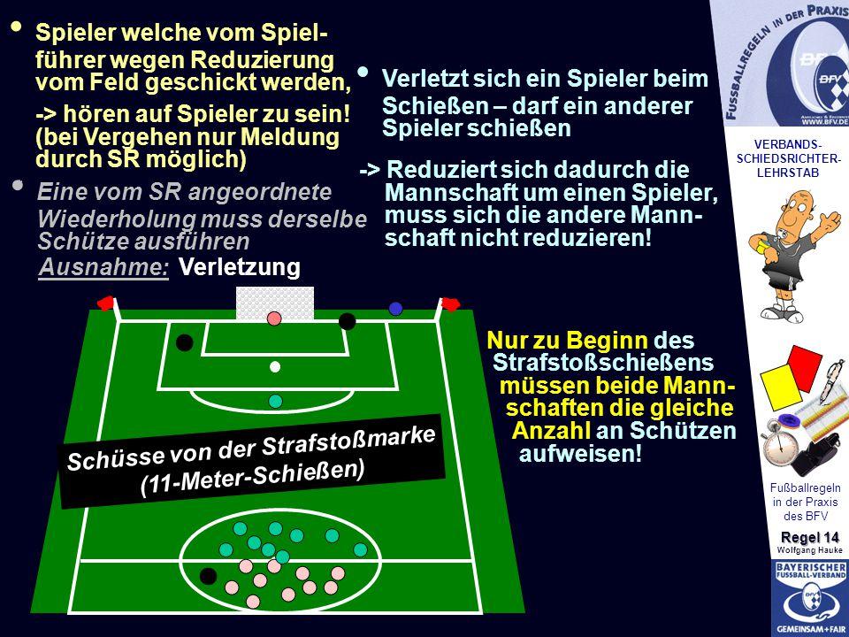 VERBANDS- SCHIEDSRICHTER- LEHRSTAB Fußballregeln in der Praxis des BFV Regel 14 Wolfgang Hauke Schüsse von der Strafstoßmarke (11-Meter-Schießen) * *