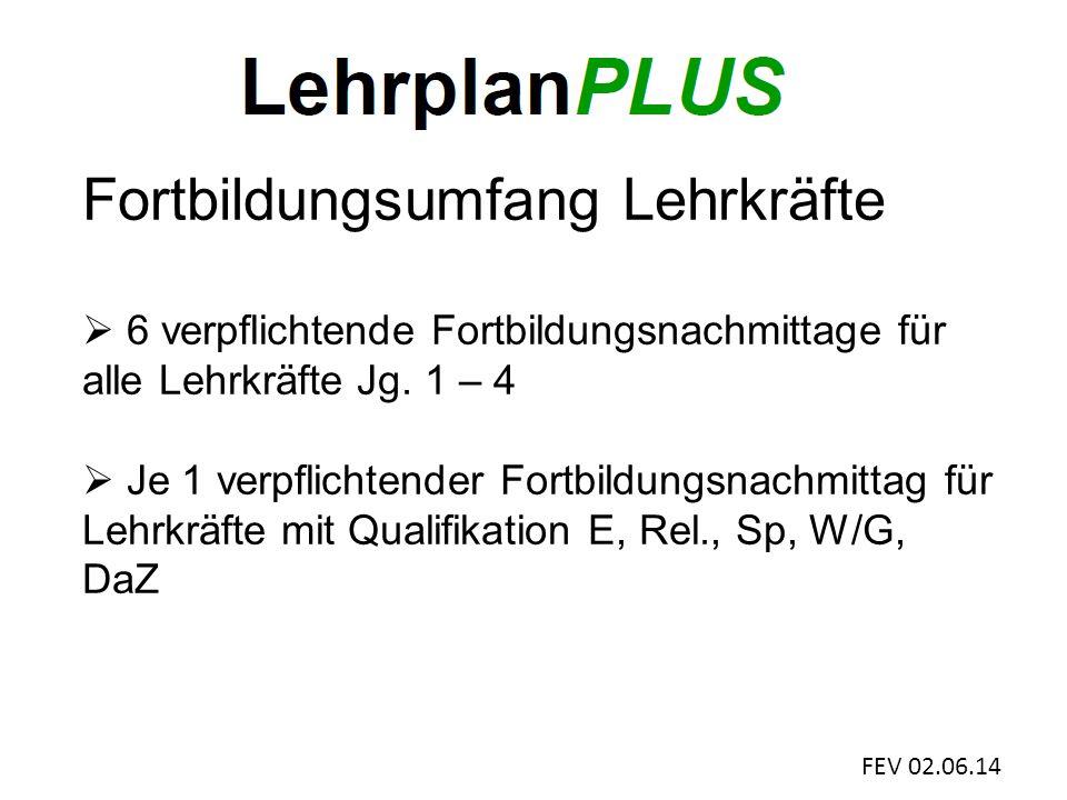 FEV 02.06.14 Fortbildungsumfang Lehrkräfte  6 verpflichtende Fortbildungsnachmittage für alle Lehrkräfte Jg.