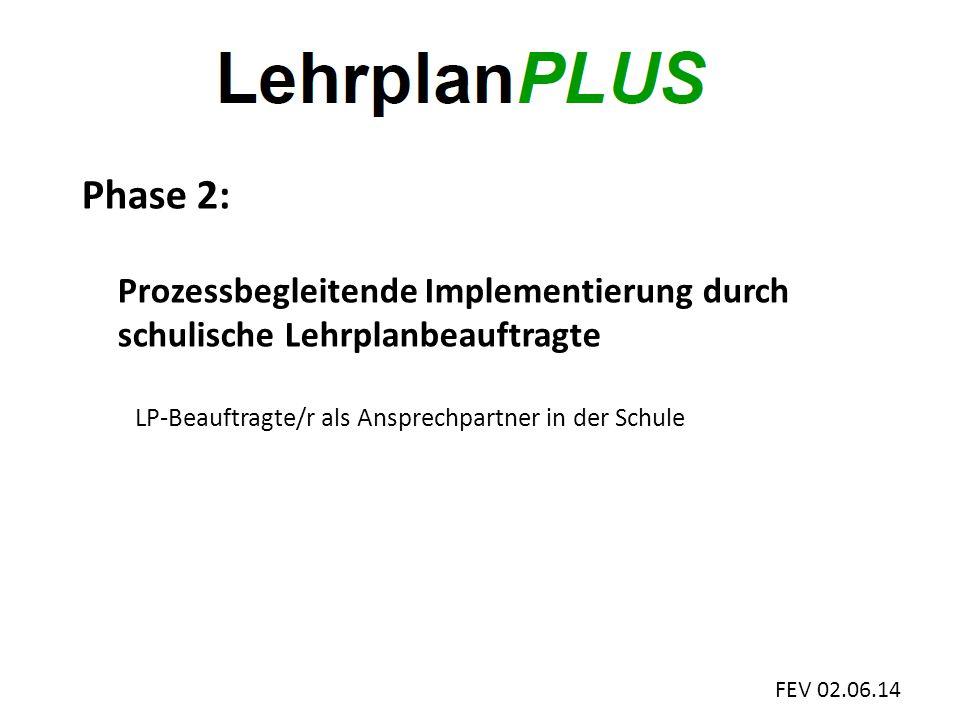 FEV 02.06.14 Phase 2: Prozessbegleitende Implementierung durch schulische Lehrplanbeauftragte LP-Beauftragte/r als Ansprechpartner in der Schule