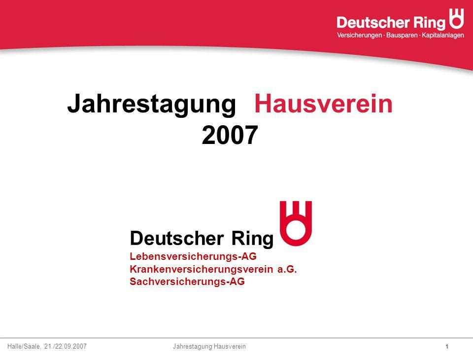 Halle/Saale, 21./22.09.2007 Jahrestagung Hausverein 22 Eigenkapitalquote RfB-Quote versicherungsgeschäftliche Ergebnisquote Ergebnisquote Schadenquote Nettoverzinsung Ausgezeichnete Ergebniskennzahlen Markt (sehr vorläufig) 14,5 % 29,7 % 10,9 % 77,8 % 4,8 % 2006 DR Kranken 31,4 % 58,0 % 11,1 % 72,4 % 5,0 % DR Kranken