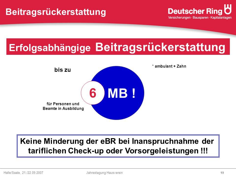 Halle/Saale, 21./22.09.2007 Jahrestagung Hausverein 19 Erfolgsabhängige Beitragsrückerstattung Beitragsrückerstattung * ambulant + Zahn bis zu 5 MB !
