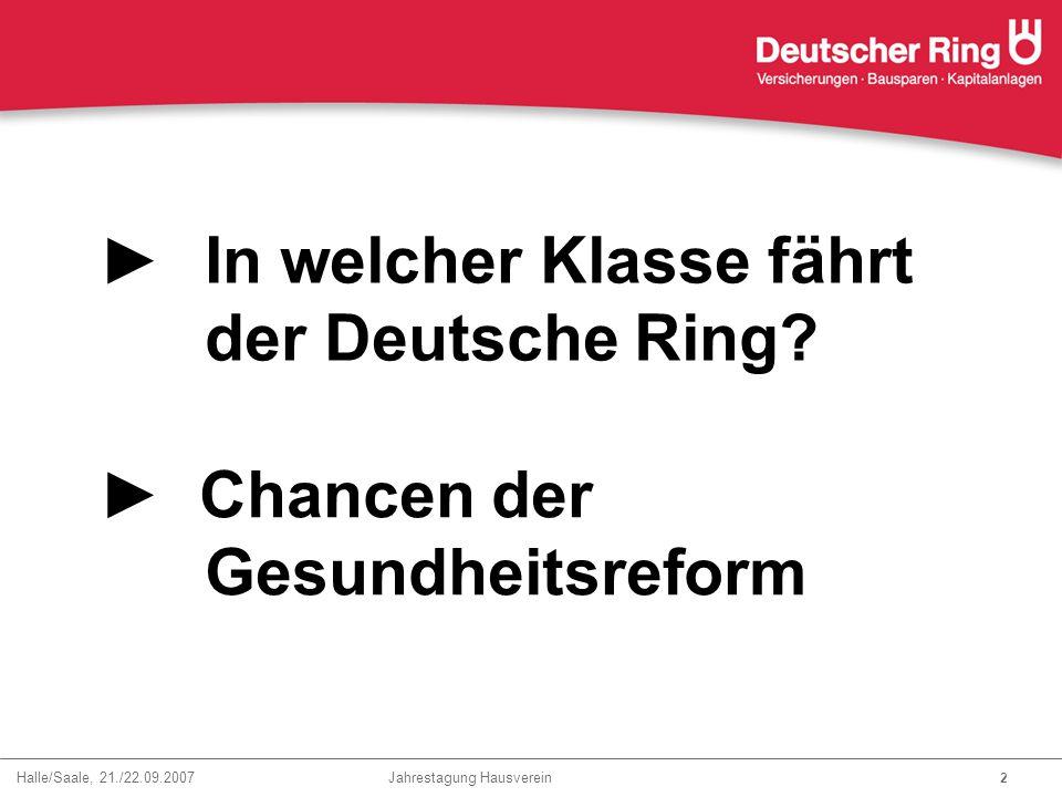Halle/Saale, 21./22.09.2007 Jahrestagung Hausverein 2 ►In welcher Klasse fährt der Deutsche Ring? ► Chancen der Gesundheitsreform