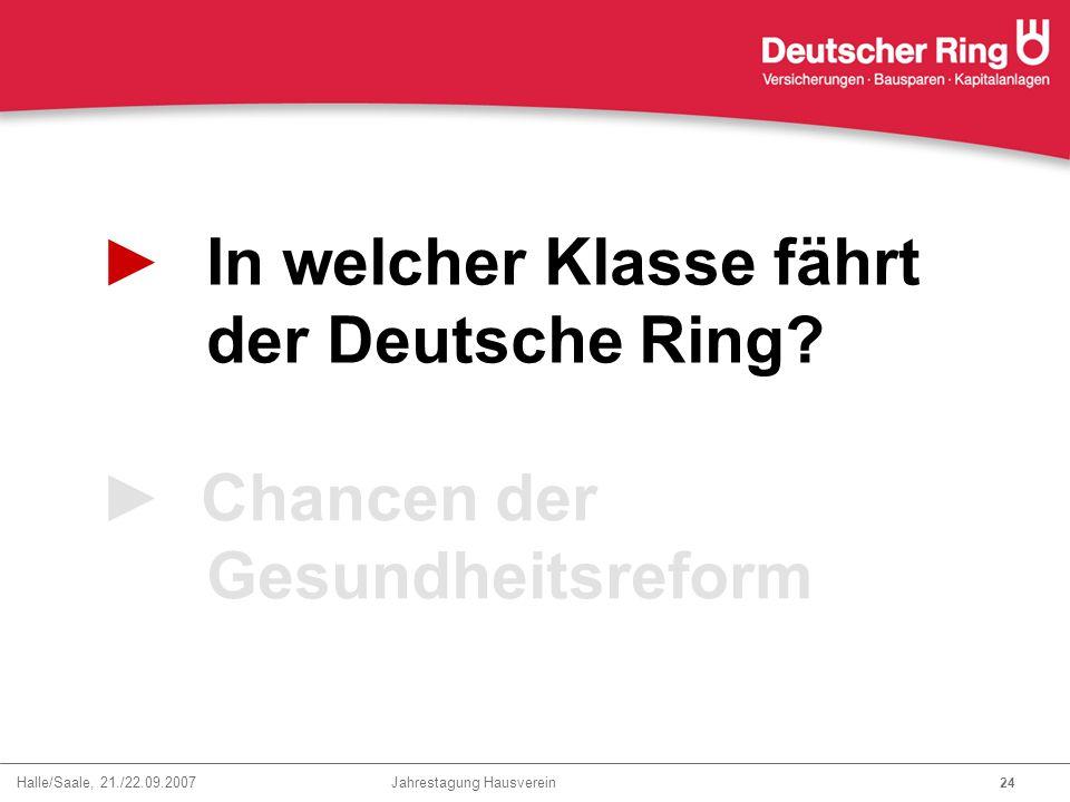 Halle/Saale, 21./22.09.2007 Jahrestagung Hausverein 24 ►In welcher Klasse fährt der Deutsche Ring? ► Chancen der Gesundheitsreform