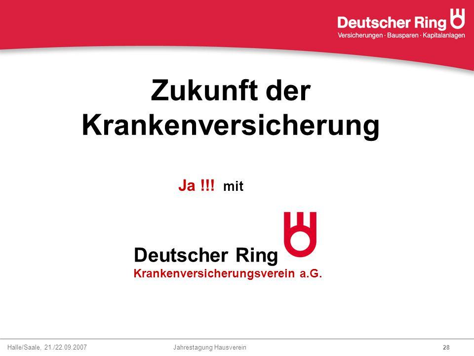 Halle/Saale, 21./22.09.2007 Jahrestagung Hausverein 28 Zukunft der Krankenversicherung Deutscher Ring Krankenversicherungsverein a.G. Ja !!! mit