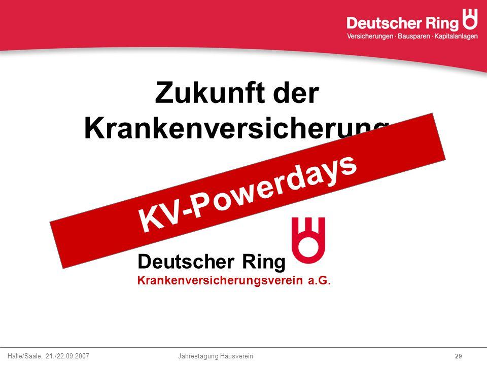 Halle/Saale, 21./22.09.2007 Jahrestagung Hausverein 29 Zukunft der Krankenversicherung Deutscher Ring Krankenversicherungsverein a.G. Ja !!! mit KV-Po