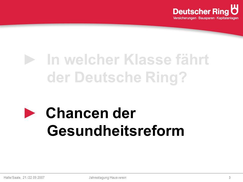 Halle/Saale, 21./22.09.2007 Jahrestagung Hausverein 3 ►In welcher Klasse fährt der Deutsche Ring? ► Chancen der Gesundheitsreform