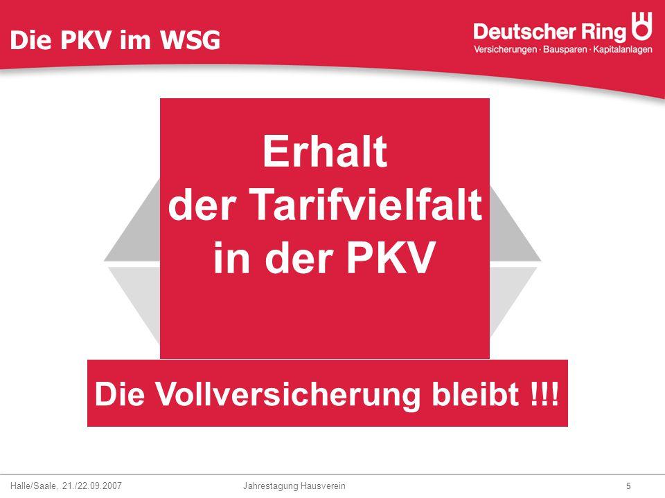 Halle/Saale, 21./22.09.2007 Jahrestagung Hausverein 6 Die PKV im WSG