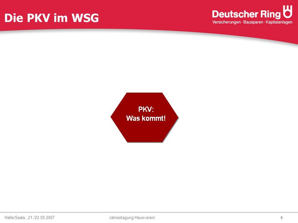 Halle/Saale, 21./22.09.2007 Jahrestagung Hausverein 7 Die PKV im WSG - Selbständige- futura z