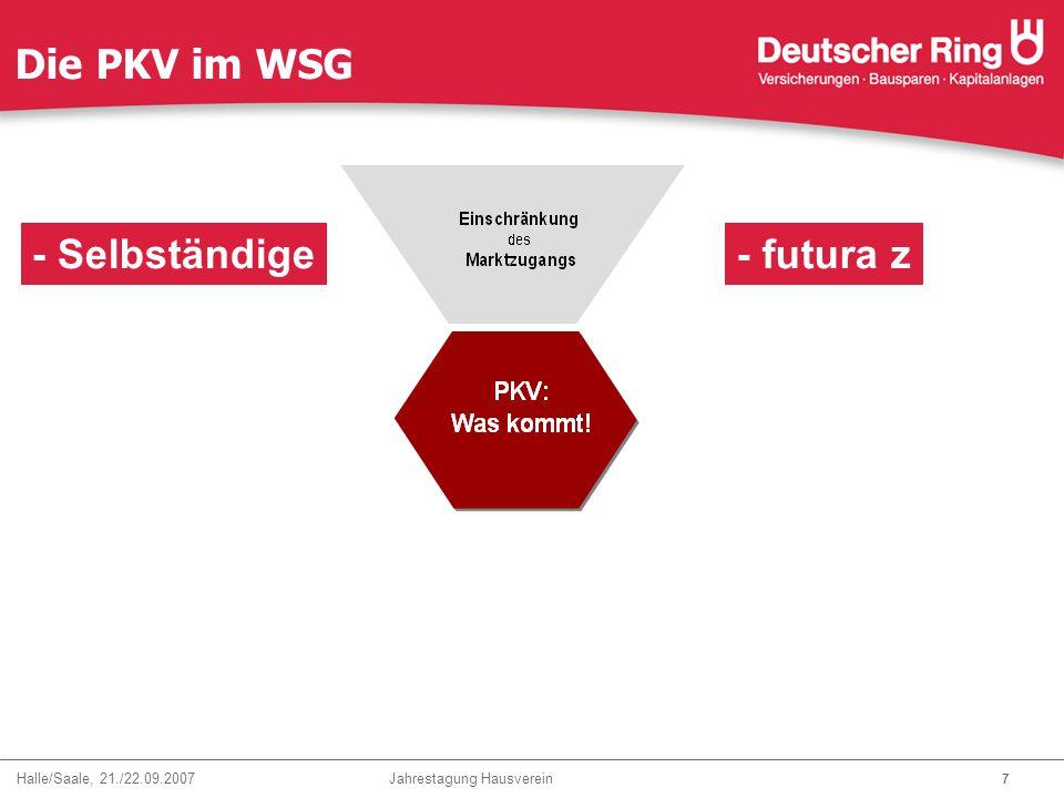 Halle/Saale, 21./22.09.2007 Jahrestagung Hausverein 28 Zukunft der Krankenversicherung Deutscher Ring Krankenversicherungsverein a.G.