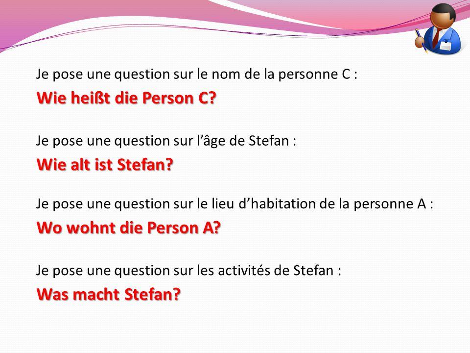 Je pose une question sur le nom de la personne C : Je pose une question sur l'âge de Stefan : Je pose une question sur le lieu d'habitation de la pers