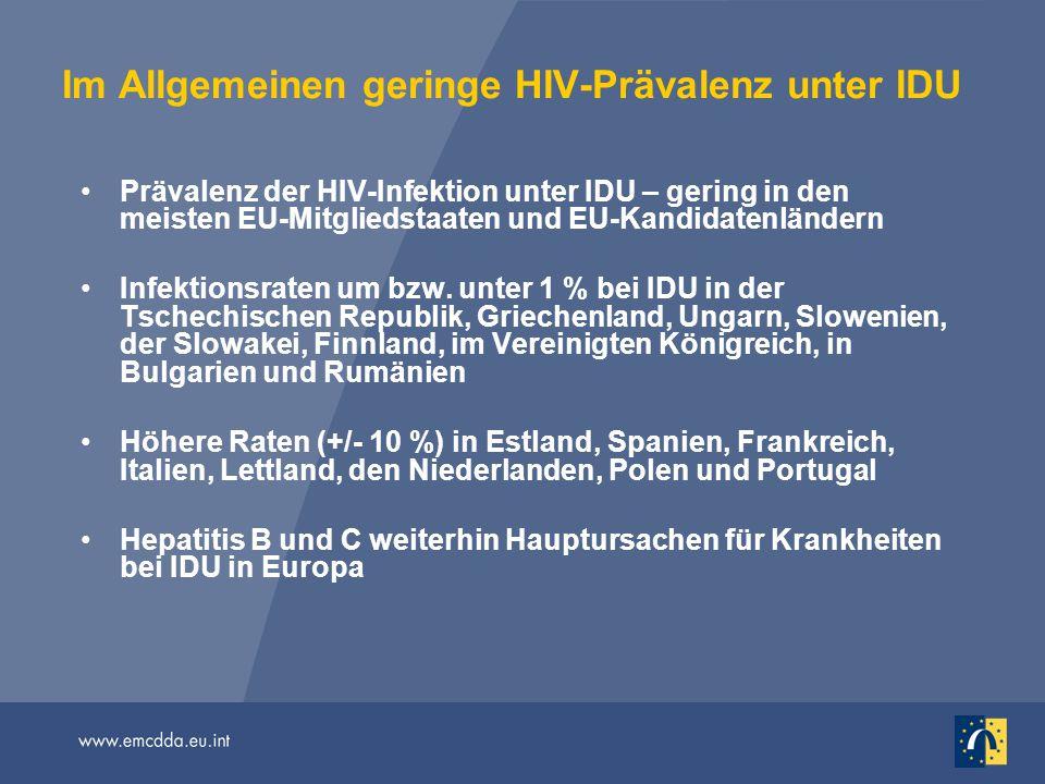 Im Allgemeinen geringe HIV-Prävalenz unter IDU Prävalenz der HIV-Infektion unter IDU – gering in den meisten EU-Mitgliedstaaten und EU-Kandidatenländern Infektionsraten um bzw.