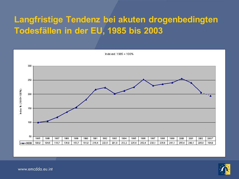 Langfristige Tendenz bei akuten drogenbedingten Todesfällen in der EU, 1985 bis 2003