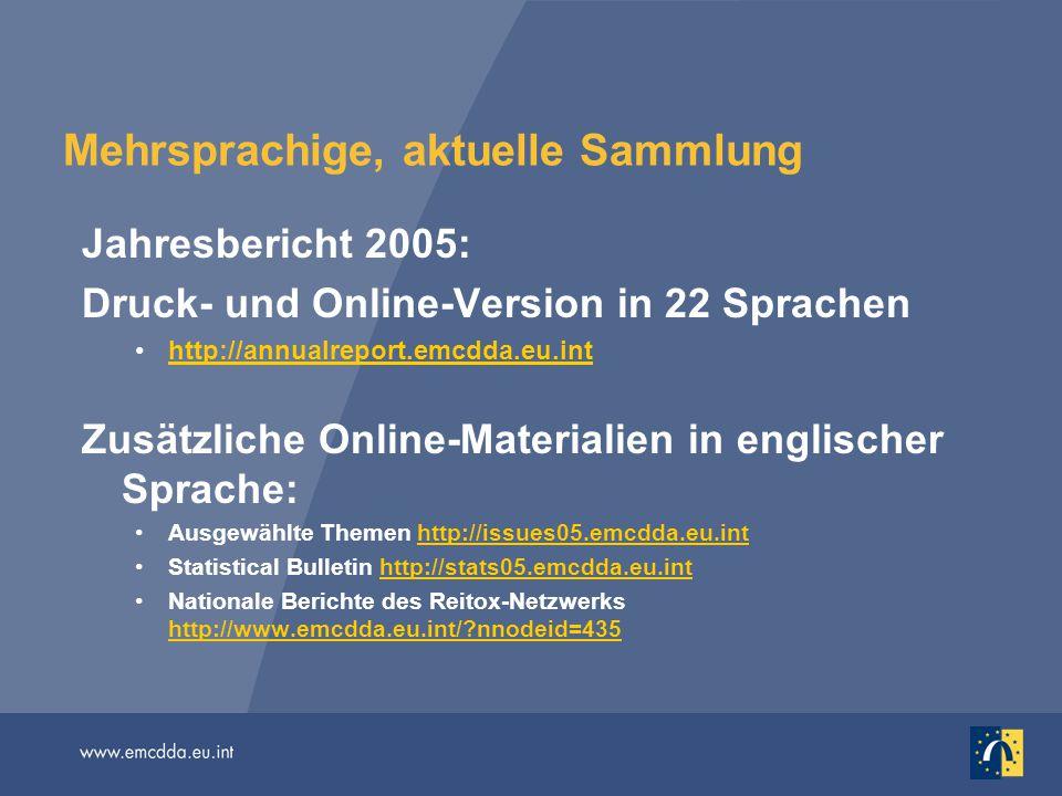 Mehrsprachige, aktuelle Sammlung Jahresbericht 2005: Druck- und Online-Version in 22 Sprachen http://annualreport.emcdda.eu.inthttp://annualreport.emcdda.eu.int Zusätzliche Online-Materialien in englischer Sprache: Ausgewählte Themen http://issues05.emcdda.eu.inthttp://issues05.emcdda.eu.int Statistical Bulletin http://stats05.emcdda.eu.inthttp://stats05.emcdda.eu.int Nationale Berichte des Reitox-Netzwerks http://www.emcdda.eu.int/?nnodeid=435 http://www.emcdda.eu.int/?nnodeid=435