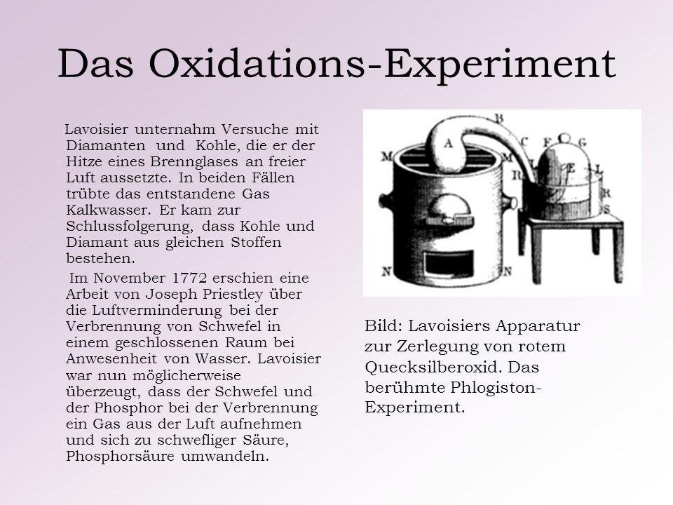 Das Oxidations-Experiment Lavoisier unternahm Versuche mit Diamanten und Kohle, die er der Hitze eines Brennglases an freier Luft aussetzte. In beiden