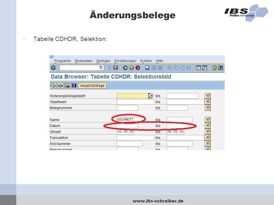 www.ibs-schreiber.de Änderungsbelege -Tabelle CDHDR, Selektion: