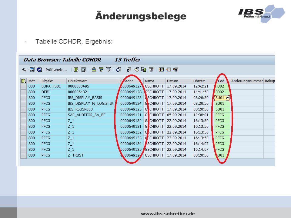 www.ibs-schreiber.de Änderungsbelege -Tabelle CDHDR, Ergebnis: