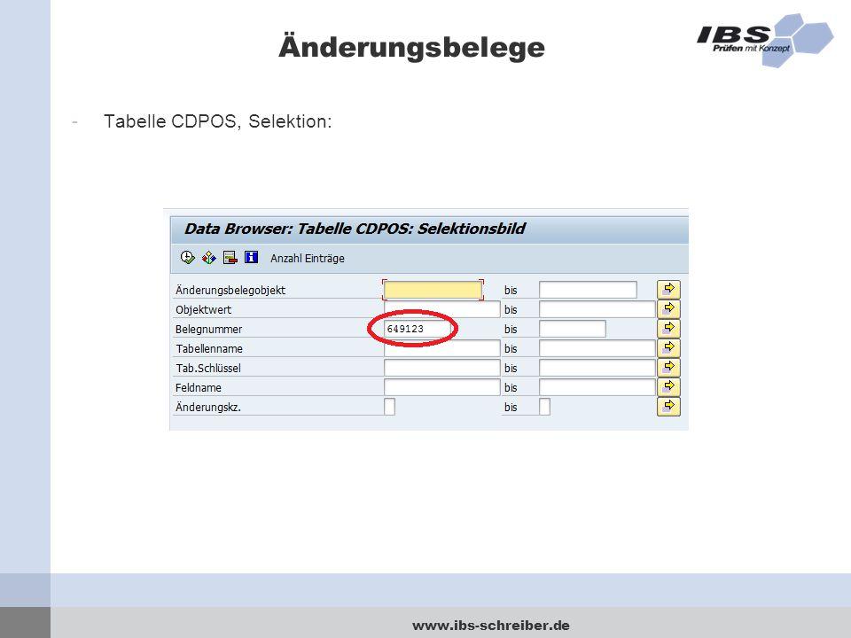 www.ibs-schreiber.de Änderungsbelege -Tabelle CDPOS, Selektion:
