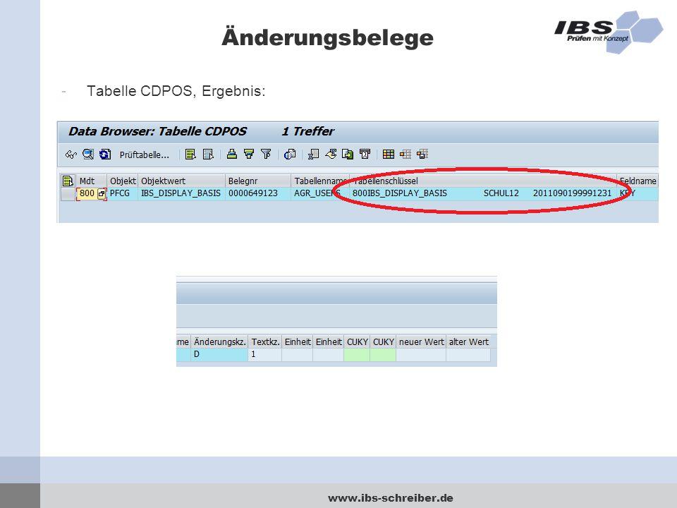 www.ibs-schreiber.de Änderungsbelege -Tabelle CDPOS, Ergebnis: