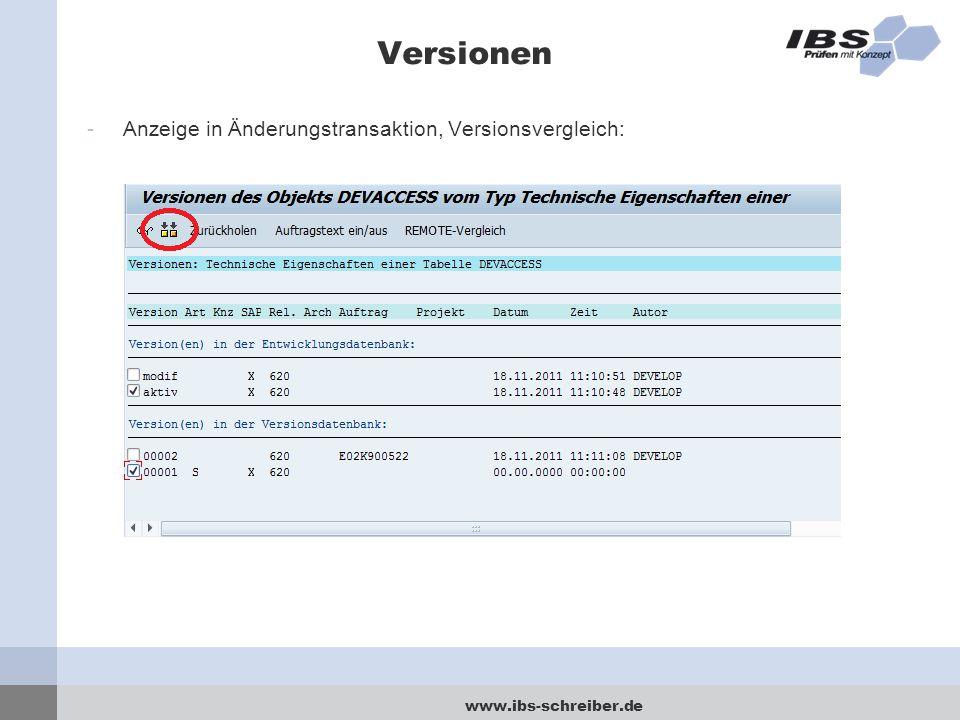 www.ibs-schreiber.de Versionen -Anzeige in Änderungstransaktion, Versionsvergleich:
