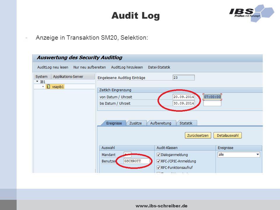 www.ibs-schreiber.de Audit Log -Anzeige in Transaktion SM20, Selektion: