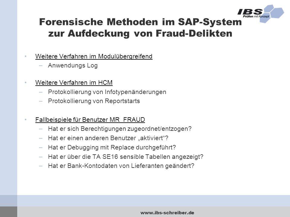 www.ibs-schreiber.de Forensische Methoden im SAP-System zur Aufdeckung von Fraud-Delikten Weitere Verfahren im Modulübergreifend –Anwendungs Log Weite