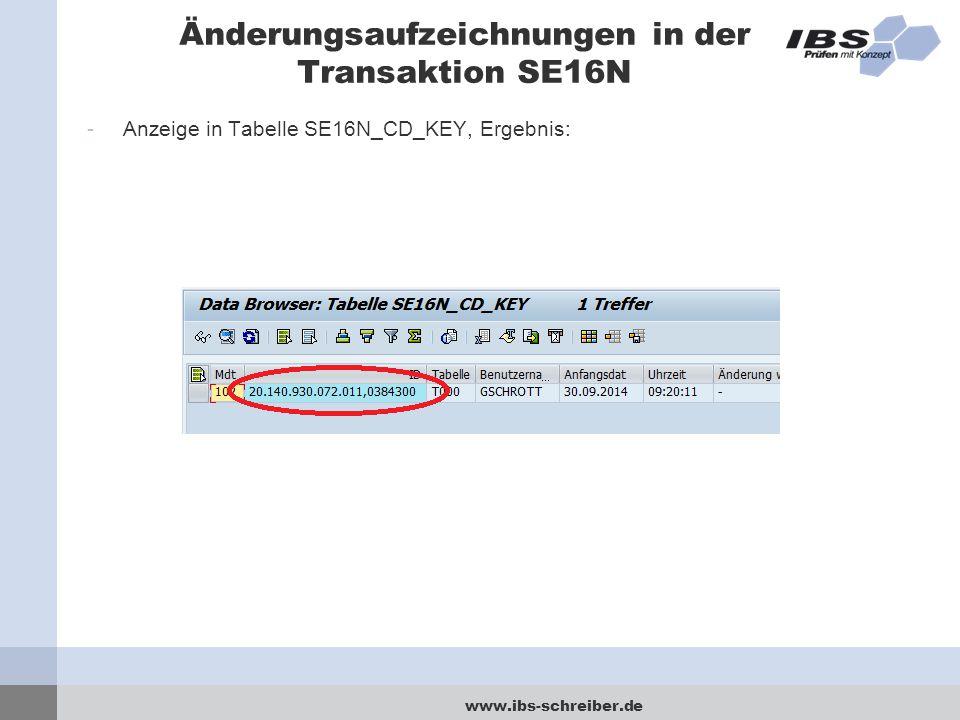 www.ibs-schreiber.de Änderungsaufzeichnungen in der Transaktion SE16N -Anzeige in Tabelle SE16N_CD_KEY, Ergebnis: