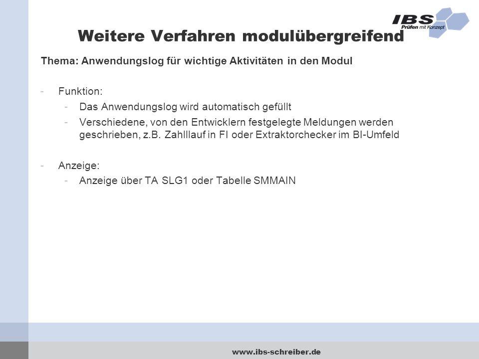 www.ibs-schreiber.de Weitere Verfahren modulübergreifend Thema: Anwendungslog für wichtige Aktivitäten in den Modul -Funktion: -Das Anwendungslog wird