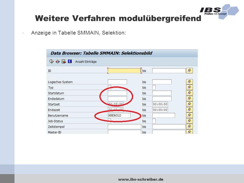www.ibs-schreiber.de Weitere Verfahren modulübergreifend -Anzeige in Tabelle SMMAIN, Selektion: