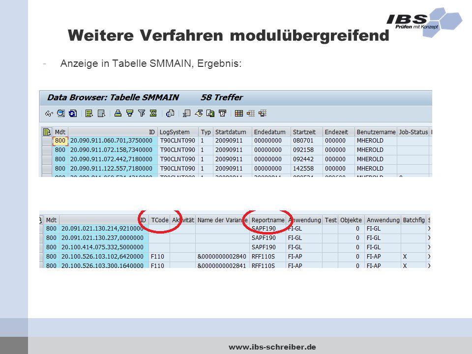 www.ibs-schreiber.de Weitere Verfahren modulübergreifend -Anzeige in Tabelle SMMAIN, Ergebnis: