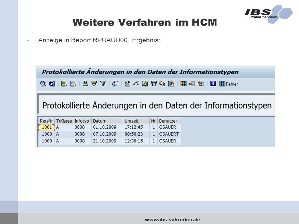 www.ibs-schreiber.de Weitere Verfahren im HCM -Anzeige in Report RPUAUD00, Ergebnis: