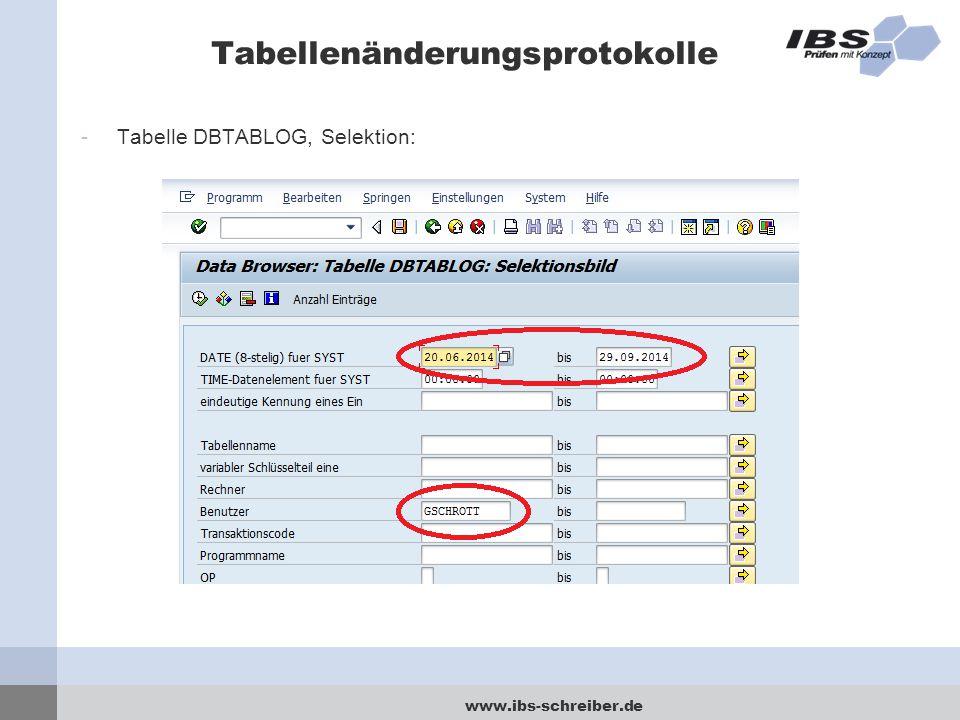 www.ibs-schreiber.de Tabellenänderungsprotokolle -Tabelle DBTABLOG, Selektion: