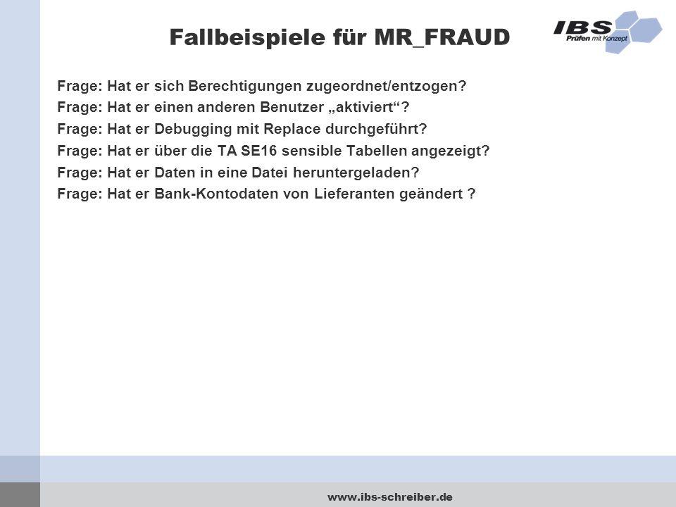 """www.ibs-schreiber.de Fallbeispiele für MR_FRAUD Frage: Hat er sich Berechtigungen zugeordnet/entzogen? Frage: Hat er einen anderen Benutzer """"aktiviert"""