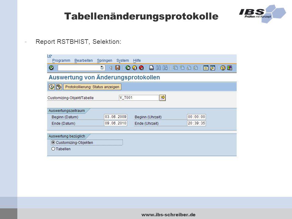 www.ibs-schreiber.de Tabellenänderungsprotokolle -Report RSTBHIST, Selektion: