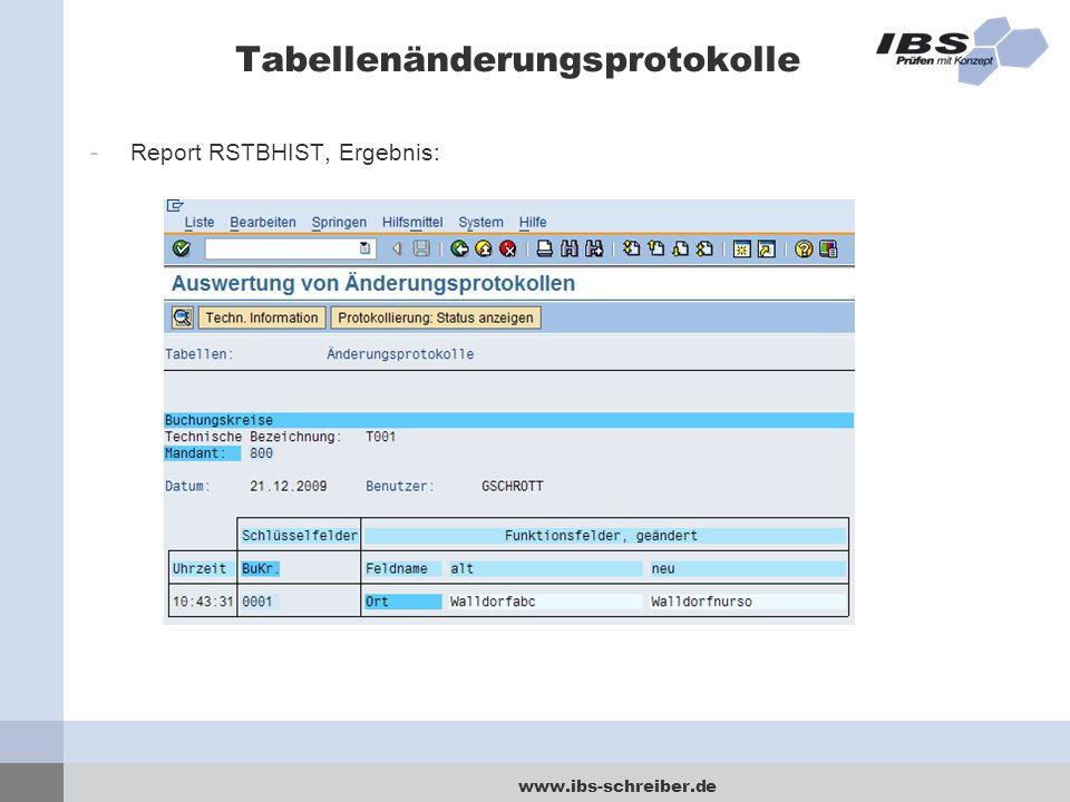 www.ibs-schreiber.de Tabellenänderungsprotokolle -Report RSTBHIST, Ergebnis: