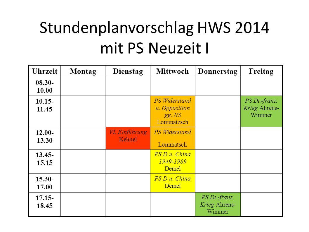 Stundenplanvorschlag HWS 2014 mit PS Neuzeit I UhrzeitMontagDienstagMittwochDonnerstagFreitag 08.30- 10.00 10.15- 11.45 PS Widerstand u.
