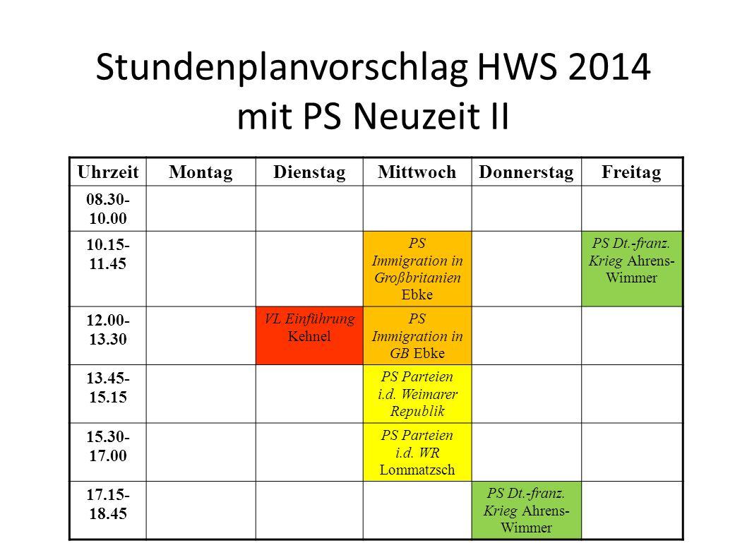 Stundenplanvorschlag HWS 2014 mit PS Neuzeit II UhrzeitMontagDienstagMittwochDonnerstagFreitag 08.30- 10.00 10.15- 11.45 PS Immigration in Großbritanien Ebke PS Dt.-franz.