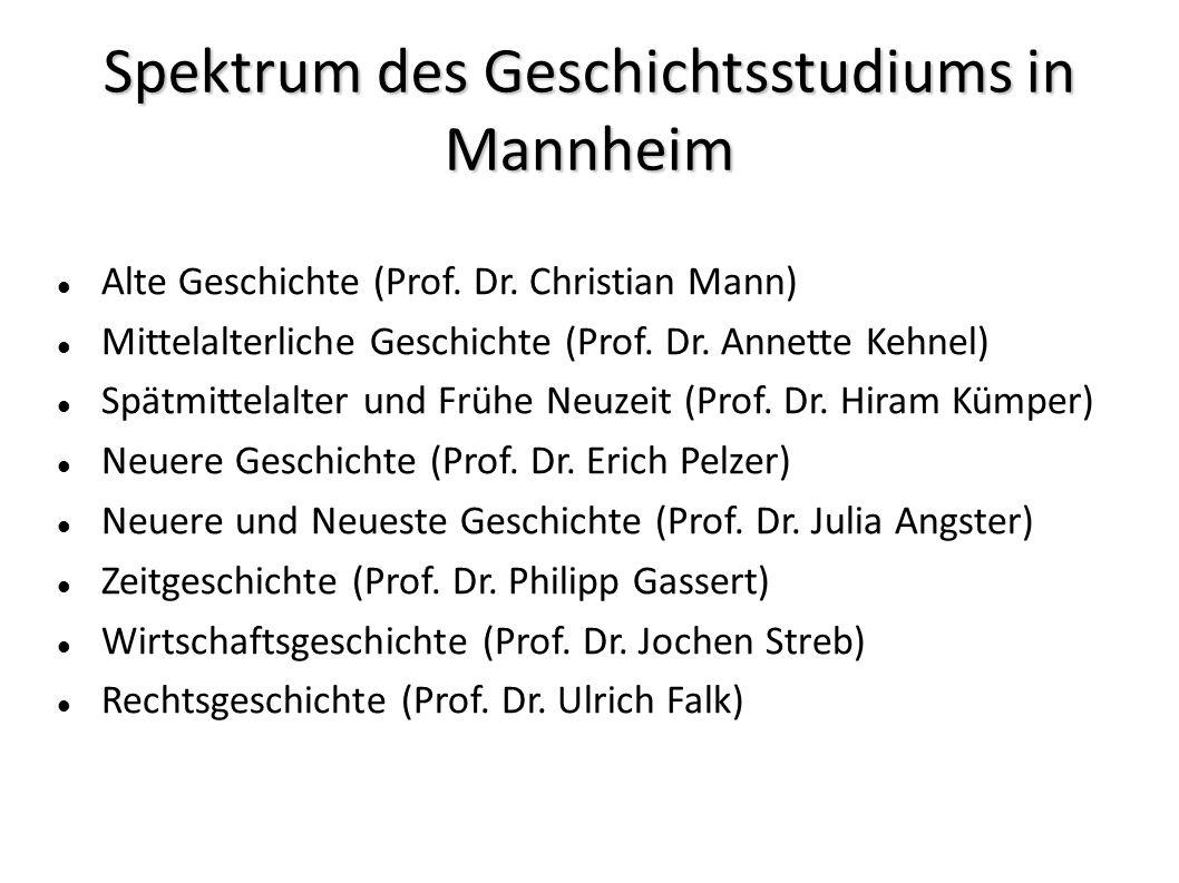 Spektrum des Geschichtsstudiums in Mannheim Alte Geschichte (Prof.