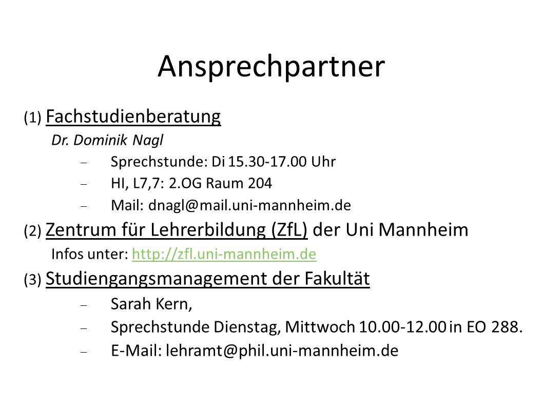 Ansprechpartner (4) Studienbüro Zuständig für die Prüfungsorganisation: Verwaltung der Notenkonten.