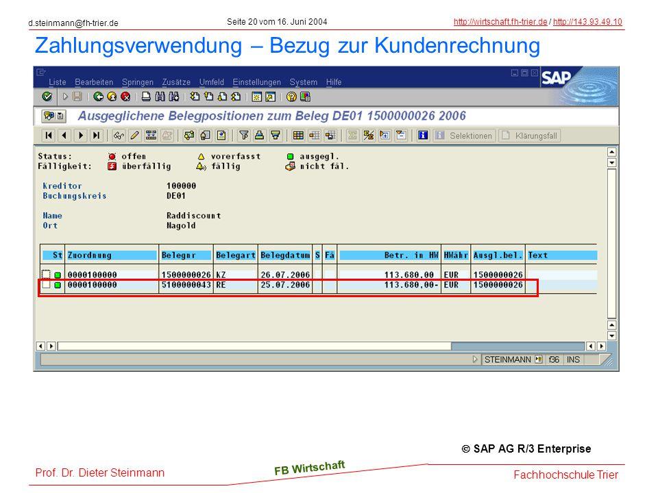 d.steinmann@fh-trier.de Seite 20 vom 16. Juni 2004http://wirtschaft.fh-trier.dehttp://wirtschaft.fh-trier.de / http://143.93.49.10http://143.93.49.10