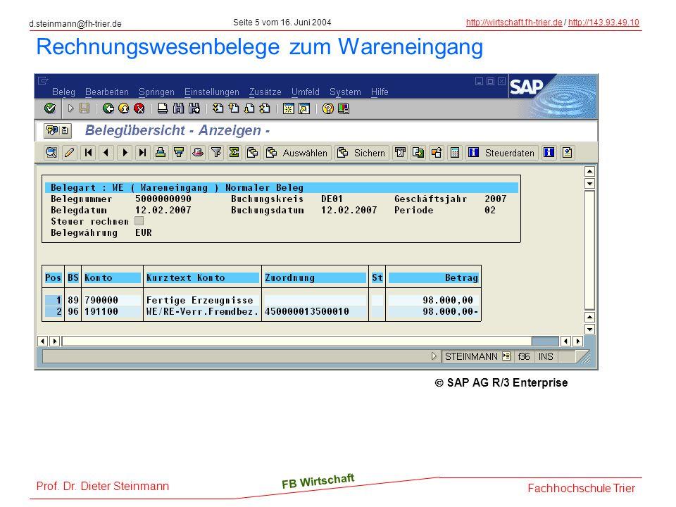 d.steinmann@fh-trier.de Seite 5 vom 16. Juni 2004http://wirtschaft.fh-trier.dehttp://wirtschaft.fh-trier.de / http://143.93.49.10http://143.93.49.10 F