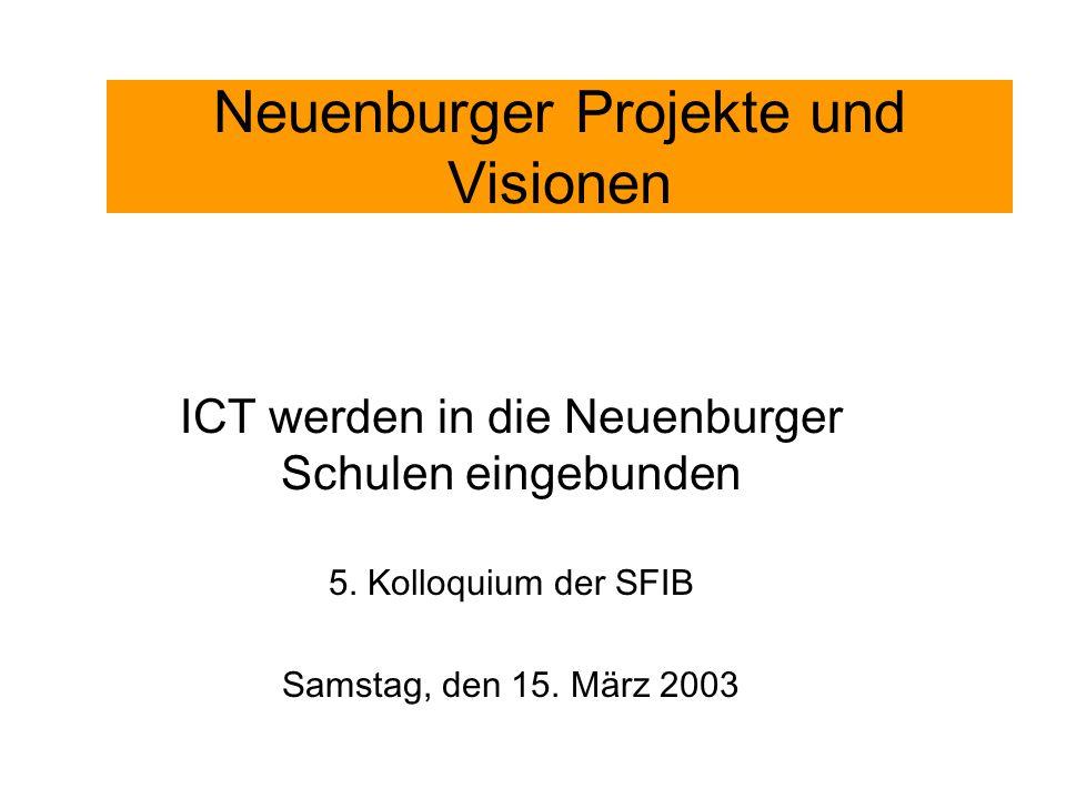 Neuenburger Projekte und Visionen ICT werden in die Neuenburger Schulen eingebunden 5. Kolloquium der SFIB Samstag, den 15. März 2003