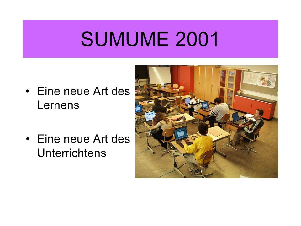 SUMUME 2001 Eine neue Art des Lernens Eine neue Art des Unterrichtens