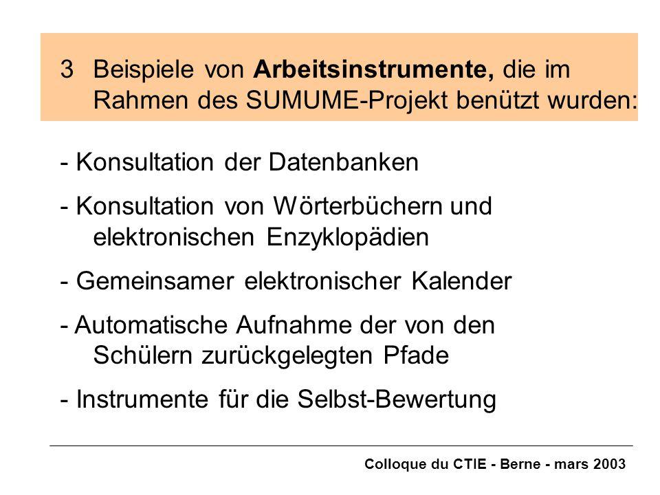 Colloque du CTIE - Berne - mars 2003 3Beispiele von Arbeitsinstrumente, die im Rahmen des SUMUME-Projekt benützt wurden: - Konsultation der Datenbanke