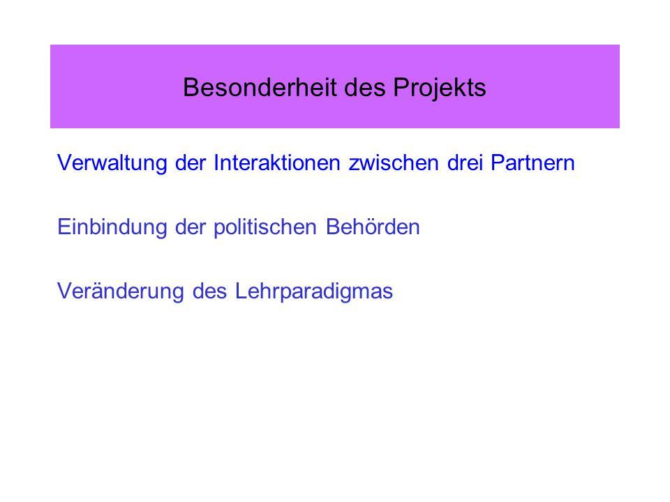 Besonderheit des Projekts Verwaltung der Interaktionen zwischen drei Partnern Einbindung der politischen Behörden Veränderung des Lehrparadigmas