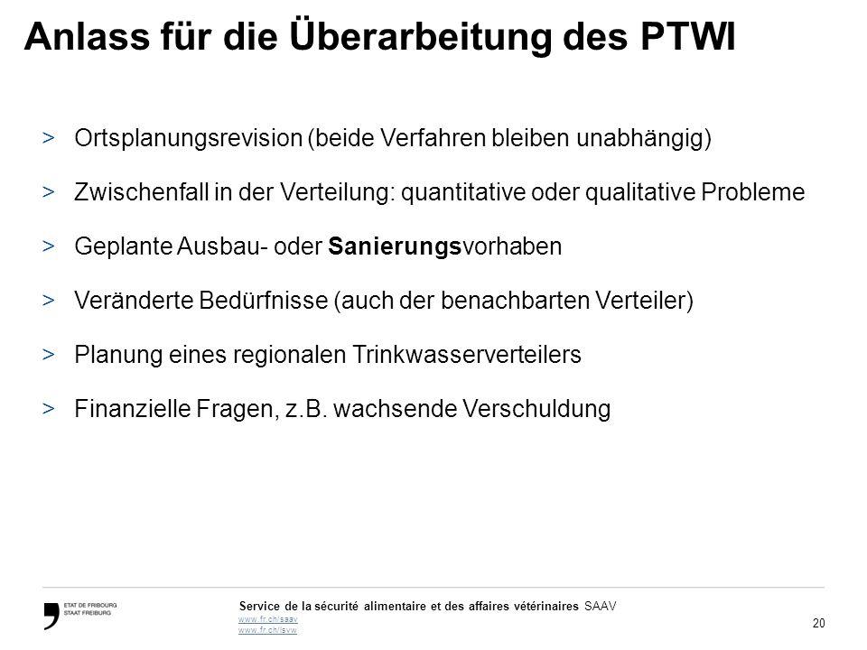 20 Service de la sécurité alimentaire et des affaires vétérinaires SAAV www.fr.ch/saav www.fr.ch/lsvw Anlass für die Überarbeitung des PTWI >Ortsplanu